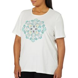 Coral Bay Plus Embellished Paisley Medallion Top