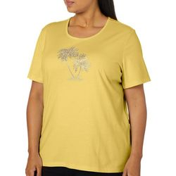 Coral Bay Plus Jeweled Palm Tree Round Neck Top