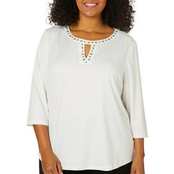 Coral Bay Plus Embellished Solid Keyhole Neck Top