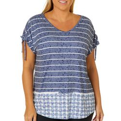 Coral Bay Plus Striped Seashell Tie Sleeve Top