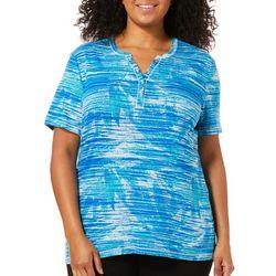 Coral Bay Plus Leaf Stripe Print Henley Top