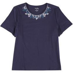 Plus Floral Embroidered Short Sleeve Top