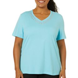 Coral Bay Plus Solid Cascade Jeweled Neck Short Sleeve Top