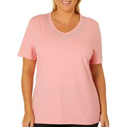 Coral Bay Plus Embellished V-Neck Top