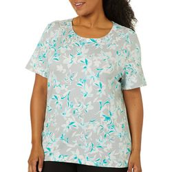 Coral Bay Plus Floral Print Jeweled Neck Short Sleeve Top