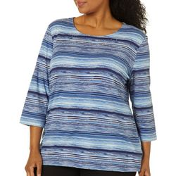 Coral Bay Plus Scratched Stripes Round Neck Top