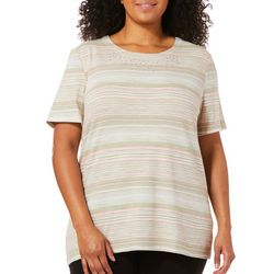 Coral Bay Plus Embellished Scratch Striped Top