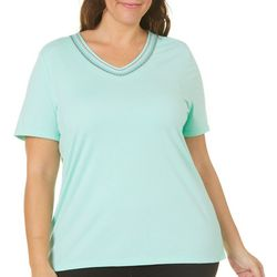 Coral Bay Plus Embroidered V-Neck Top