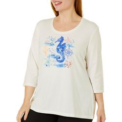 Coral Bay Plus Embellished Seahorse Round Neck Top