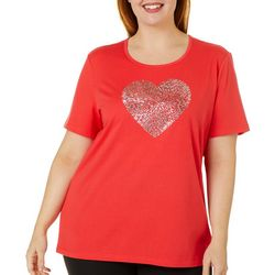 Coral Bay Plus Jeweled Embroidered Heart Top