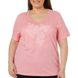 Coral Bay Plus Embellished Butterfly Dotted Top
