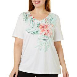 Coral Bay Plus Embellished Hibiscus Print Top