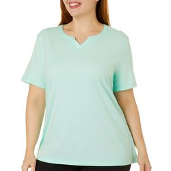 Coral Bay Plus Solid Split Neck Short Sleeve Top