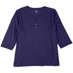 Coral Bay Womens Plus Solid Henley 3/4 Sleeve Top