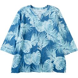 Coral Bay Plus Scratch Leaf Split Neck Top