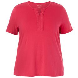 Coral Bay Plus Solid Split Embroidered Neckline Top