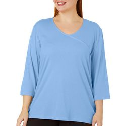 Coral Bay Plus Solid V-Neck Surplice Top