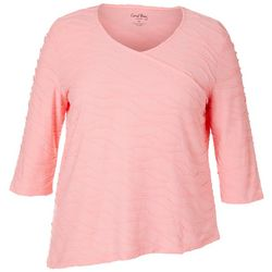Coral Bay Plus Solid Textured V-Neck Surplice Top