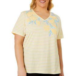 Coral Bay Plus Lemon Screen Print Striped V-Neck Top