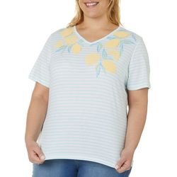 Coral Bay Plus Lemon Screen Print Striped V-Neck Top