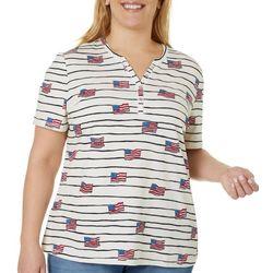 Plus Flag Striped Short Sleeve Top