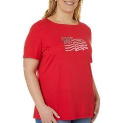 Plus Americana Jeweled Embellished Flag Top