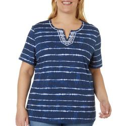 Plus Tie Dye Stripe Split Neck Short Sleeve Top