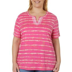 Coral Bay Plus Tie Dye Stripe Split Neck Short Sleeve Top