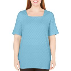 Coral Bay Plus Textured Square Neck Solid Top