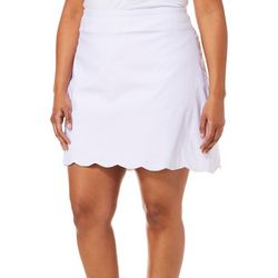 Coral Bay Plus Solid Scalloped Pull On Skort