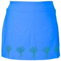Coral Bay Plus Solid Palm Tree Embellished Skort