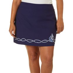 Coral Bay Plus Solid Anchor Embellished Skort