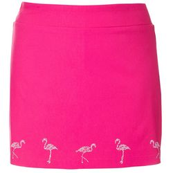 Coral Bay Plus Solid Flamingo Embellished Skort
