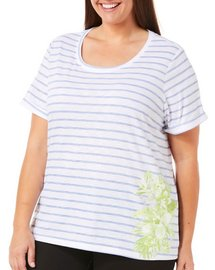 Coral Bay Plus Floral Stripes Print Top