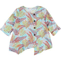 Coral Bay Plus Tropical Assymetrical Button Top