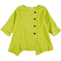 Coral Bay Plus Solid Assymetrical Button Top