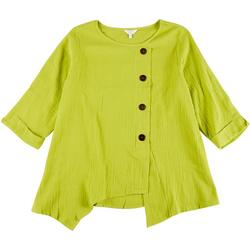 Plus Solid Assymetrical Button Top
