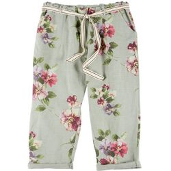 Coral Bay Plus Floral Belted Roll Cuff Linen Capris