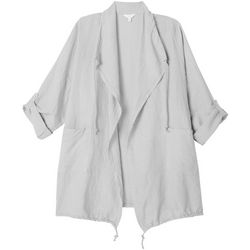 Coral Bay Plus Solid Open Front Drawstring Jacket
