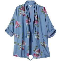 Coral Bay Plus Floral Open Front Drawstring Jacket