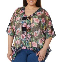 Plus Tropical Hibiscus Mesh Cardigan