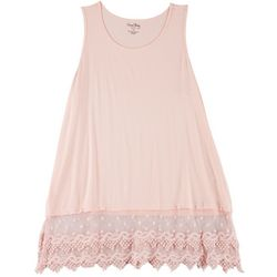 Plus Solid Lace Trim Tank Top