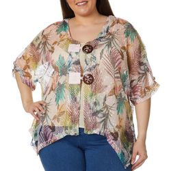 Coral Bay Plus Tropical Palm Leaf Hibiscus Mesh Cardigan
