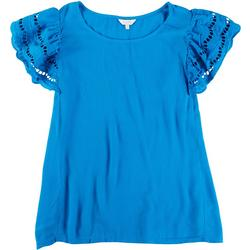 Plus Ruffled Crochet Short Sleeve Top