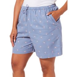 Coral Bay Plus Flamingo Print Twill Drawstring Shorts
