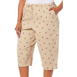 Coral Bay Plus Pull On Drawstring Flamingo Print Capris