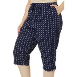 Coral Bay Plus Pull On Drawstring Nautical Print Capris