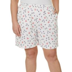 Coral Bay Plus Anchor Print Twill Drawstring Shorts
