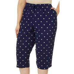 Coral Bay Plus Dot Print Drawstring Twill Capris