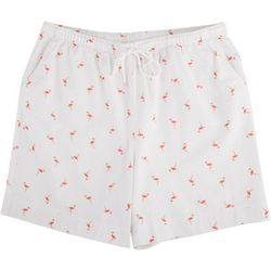 Coral Bay Plus Flamingo Print Skimmer Shorts